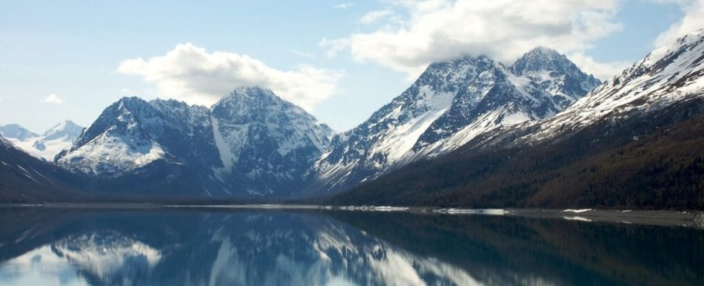 Mountains and lake in Juneau Alaska excursion